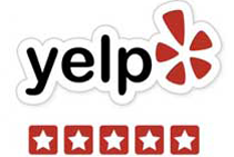 Yelp logo with 5 (five) stars - for neurologist Timothy Tim J. Allen, MD, Neurology Specialists of the Rockies, Cheyenne, Fort Collins